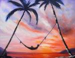 Tropical Sunset Painting Framed Prints - Living the Dream Framed Print by Gina De Gorna