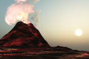 Catastrophe Digital Art - Living Volcano by Corey Ford