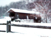 Split Rail Fence Digital Art - Livingston Manor Covered Bridge by EricaMaxine  Price