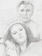 Elizabeth Taylor Drawings - Liz And Dick by Jami Cirotti