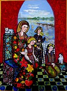 Stain Glass Tapestries - Textiles Prints - Liz Combing Madeline in Portsmouth Print by Marilene Sawaf