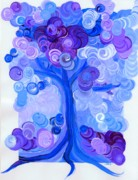 Bravery Digital Art Posters - Liz Dixons Tree blue Poster by First Star Art