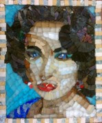 Mosaic Portrait Glass Art - Liz In Memorium by Mitch Brookman