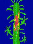 Reptiles Drawings - Lizard And Cactus by Lucyna A M Green