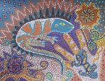 Dots Paintings - Lizard Dreaming by Vijay Sharon Govender