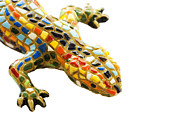 Christian Pyrography Prints - Lizard Souvenir by Antony Gaudi Print by Soultana Koleska