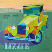 Vintage Car Digital Art Framed Prints - Lizzie Model T Framed Print by Evie Cook