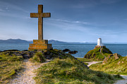 Stone Digital Art Posters - Llanddwyn Cross Poster by Adrian Evans