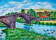 Wales Art - Llanrwst Bridge - Wales by Ronald Haber