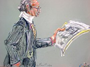 Lawyers Paintings - Lloyd Barbee with Neck Brace by Les Leffingwell