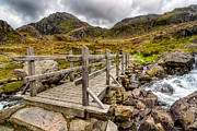 Stream Digital Art Posters - Llyn Idwal Bridge Poster by Adrian Evans