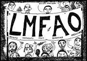 Laughzilla Drawings - LMFAO Protest Sign cartoon by Yasha Harari