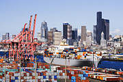 Architectural Photo Framed Prints - Loaded Container Ship In Seattle Harbor Framed Print by Jeremy Woodhouse
