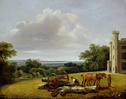 English Landscape Prints - Loading a Timber Wagon at Cave Castle Yorkshire Print by George Arnald