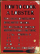 Lobster Sign Posters - Lobster Cuisine Wall Art Poster by AdSpice Studios