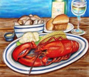 New England Lighthouse Pastels Posters - Lobster Dinner Poster by Patricia L Davidson