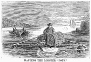 Pot Boat Framed Prints - Lobster Fishing, 1868 Framed Print by Granger