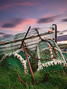 Lobster Pots Framed Prints - Lobster Pots and Anchor at Lidisfarne Holy Island Framed Print by John Potter