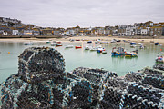 Trawler Metal Prints - Lobster Pots On The Harbour Wall At St Ives, Cornwall, England Metal Print by Adam Burton