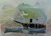 Foggy Day Painting Posters - Lobster Shack Poster by Edward Merrell