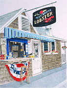 Maine Drawings Posters - Lobster Shack Poster by Glenda Zuckerman