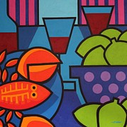 Wine Glass Paintings - Lobster Still Life by John  Nolan