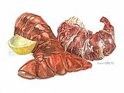 Meat Paintings - Lobster Tail and Meat by Dominic White
