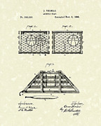 Basket Drawings Prints - Lobster Trap 1888 Patent Art Print by Prior Art Design