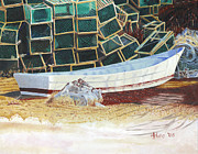 Dory Paintings - Lobster Traps and Dory by Dominic White