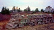 Conifer Prints - Lobster Traps Print by Jeff Kolker
