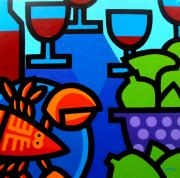 Glass Bottle Painting Posters - Lobster Wine and Limes Poster by John  Nolan