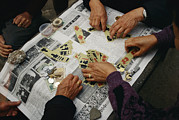 Elderly People Art - Locals Play A Chinese Card Game by Justin Guariglia