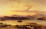Sunset In Mountains Posters - Loch Etive from Bonawe in the Evening Poster by George Edwards Hering