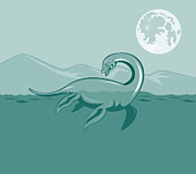 Lake  Posters - Loch Ness Monster Retro Poster by Aloysius Patrimonio
