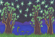 Green Monster Drawings - Loch Ness Night by James Davidson