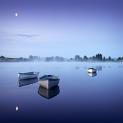 Dinghy Posters - Loch Rusky Moonlit Morning Poster by David Mould