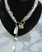 Featured Jewelry Metal Prints - Lock and Key Necklace Metal Print by Susan Geluz