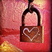 Featured Framed Prints - Lock/heart Framed Print by Julie Gebhardt