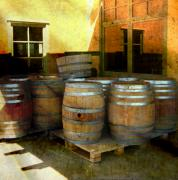 Vineyard Landscape Mixed Media Prints - Lock Stock and Barrels Print by Josie Duff