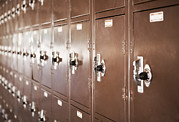 Furnishing Framed Prints - Lockers In A High School Framed Print by Bryan Mullennix