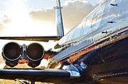 Jetliner Chrome Prints - Lockheed Jet Star Side View Print by Lynda Dawson-Youngclaus