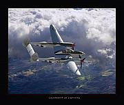 Airplane Artwork Posters - Lockheed P-38 Lightning Poster by Larry McManus