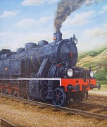 Portugal Art Paintings - Locomotive 0186 by Carlos De Vasconcelos Tavares