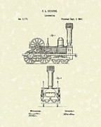 Train Drawing Posters - Locomotive 1842 Patent Art Poster by Prior Art Design