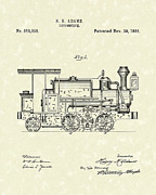Railroad Drawings - Locomotive 1886 Patent Art by Prior Art Design