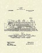 Railroad Drawings - Locomotive 1915 Patent Art by Prior Art Design