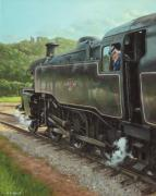 Railway Locomotive Posters - Locomotive At Swanage Railway Poster by Martin Davey