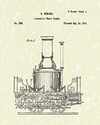 Railroad Drawings - Locomotive Steam Engine 1837 Patent by Prior Art Design