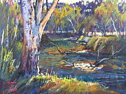 Riverbank Pastels Posters - Lodden Reach Poster by Pamela Pretty
