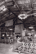 Fireplace Prints - Lodge Starved Rock State Park Illinois BW Print by Steve Gadomski